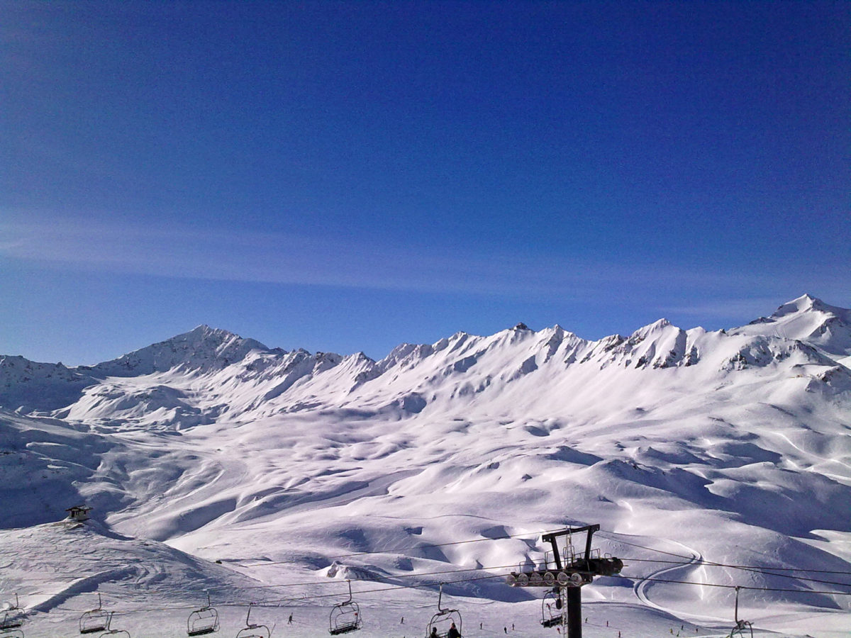 tignes mountains with chair lift panorama