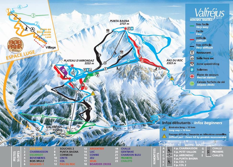 Valfrejus ski map