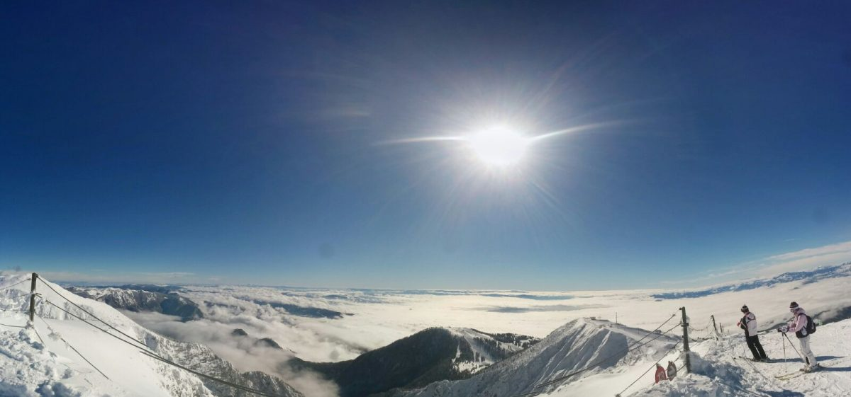 krvavec above clouds on sunny day