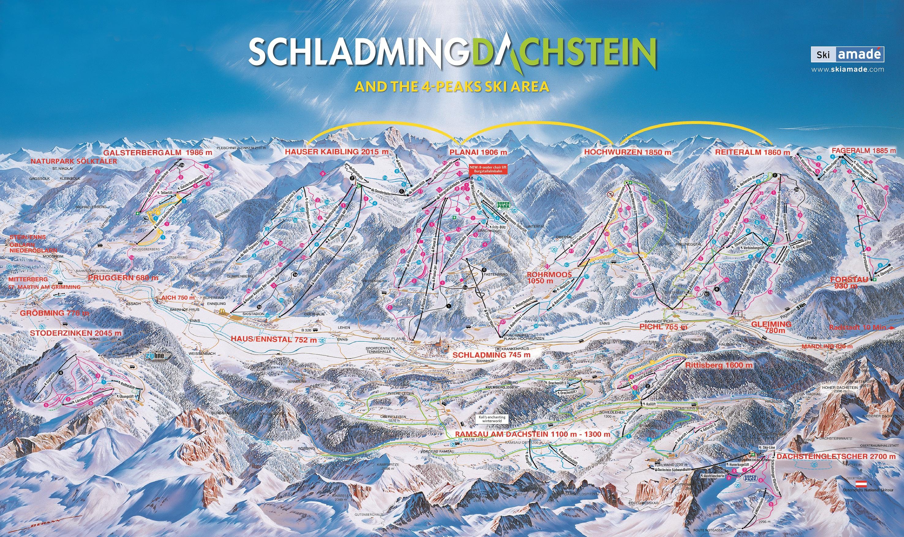 Schladming Dachstein ski map