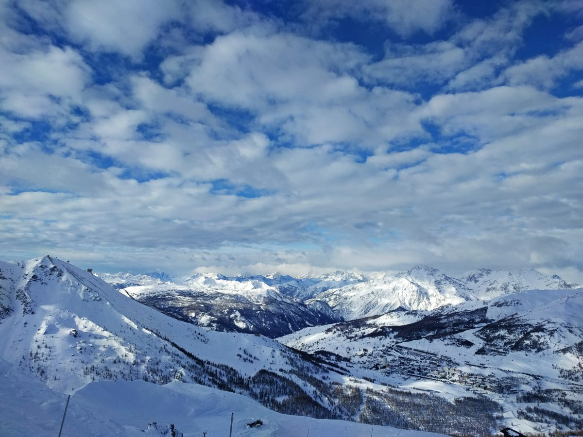 sestriere panorama, sun and clouds