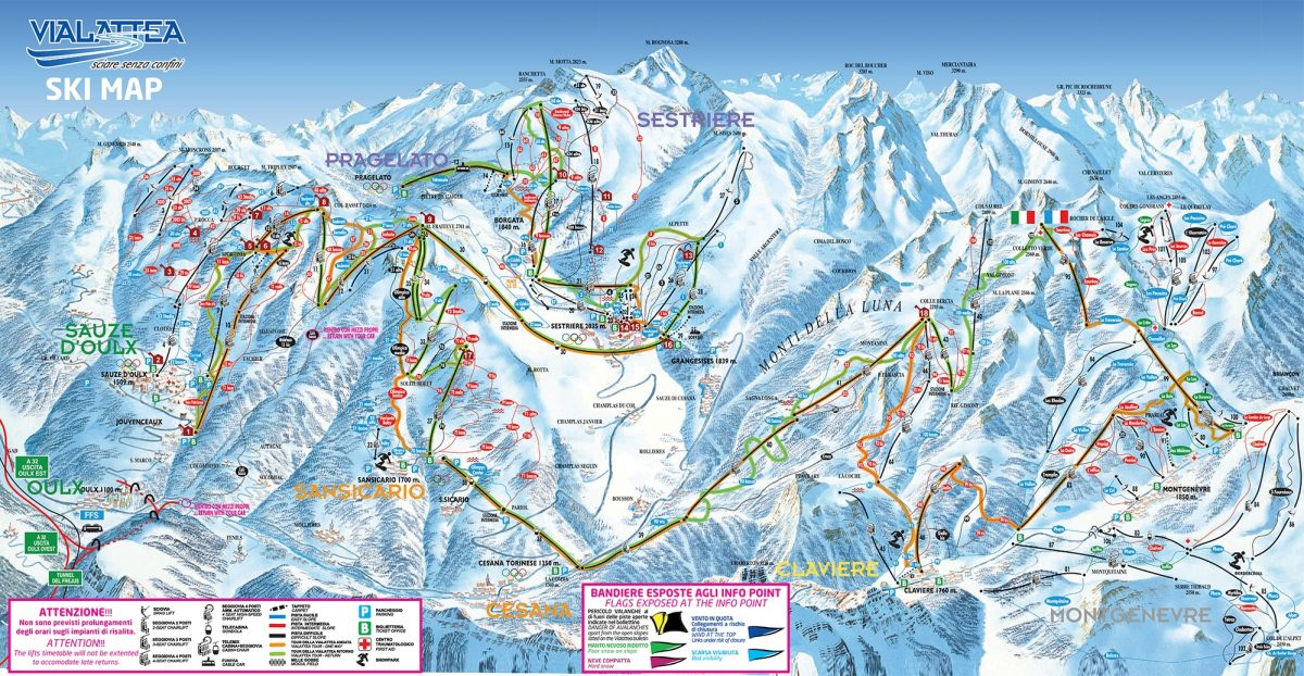 Sestriere and Vialattea ski map