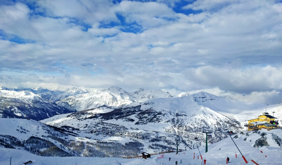 sestriere panorama view from top of the mountain
