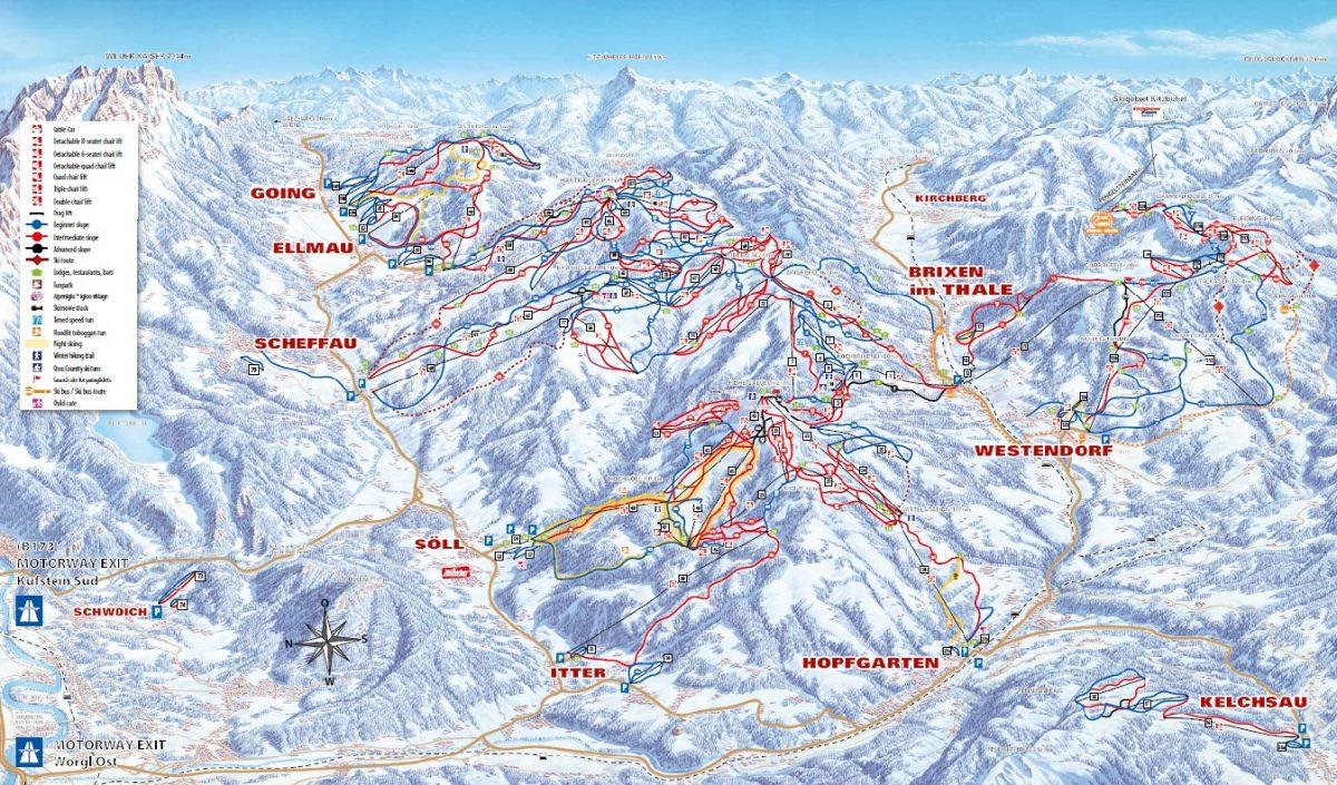 SkiWelt Wilder Kaiser Brixental ski map