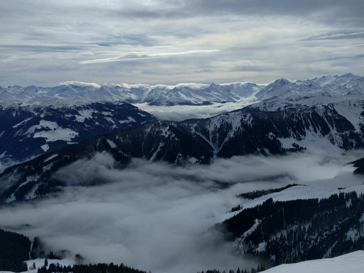 Kitzbuhel mountains panorama. Clouded weather.