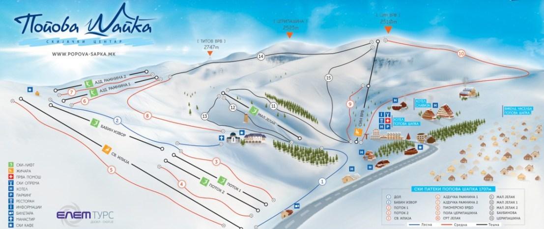 Popova Sapka ski map