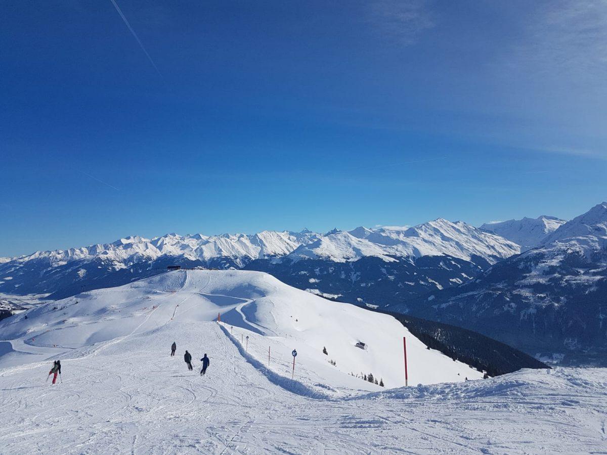 Kitzbuhel Mountain Panorama with Skiers