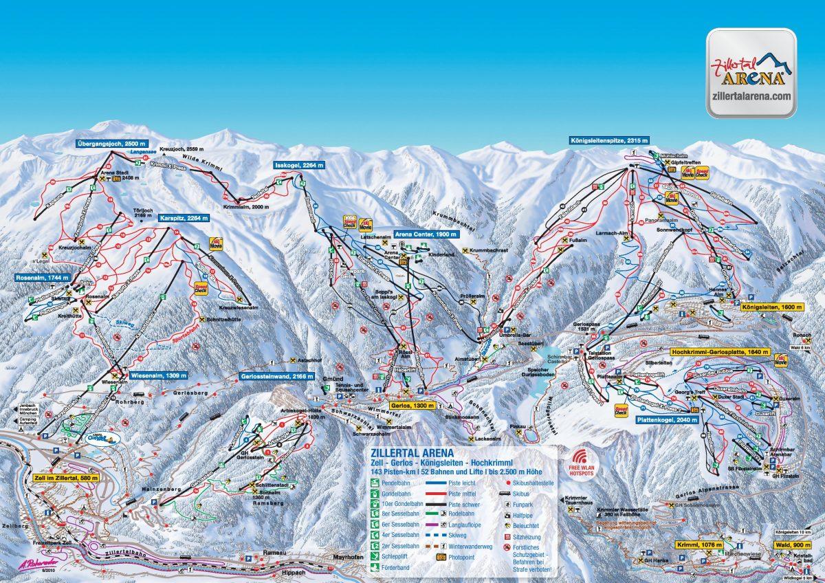 Zillertal Arena Ski Map