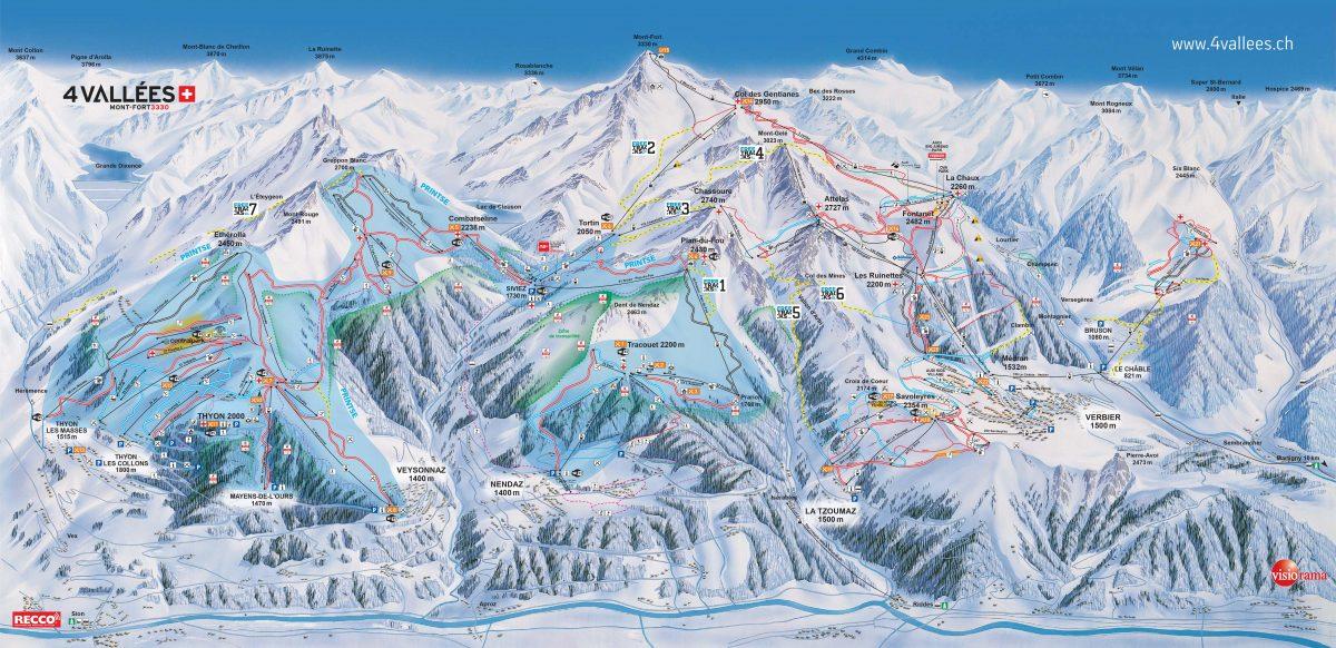 4 valleys ski map